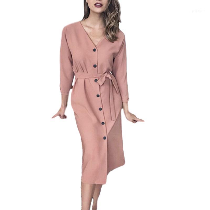 Повседневные платья женщины платье весна осень мода с длинным рукавом v-образным вырезом сплошной цвет цельный плюс размер1