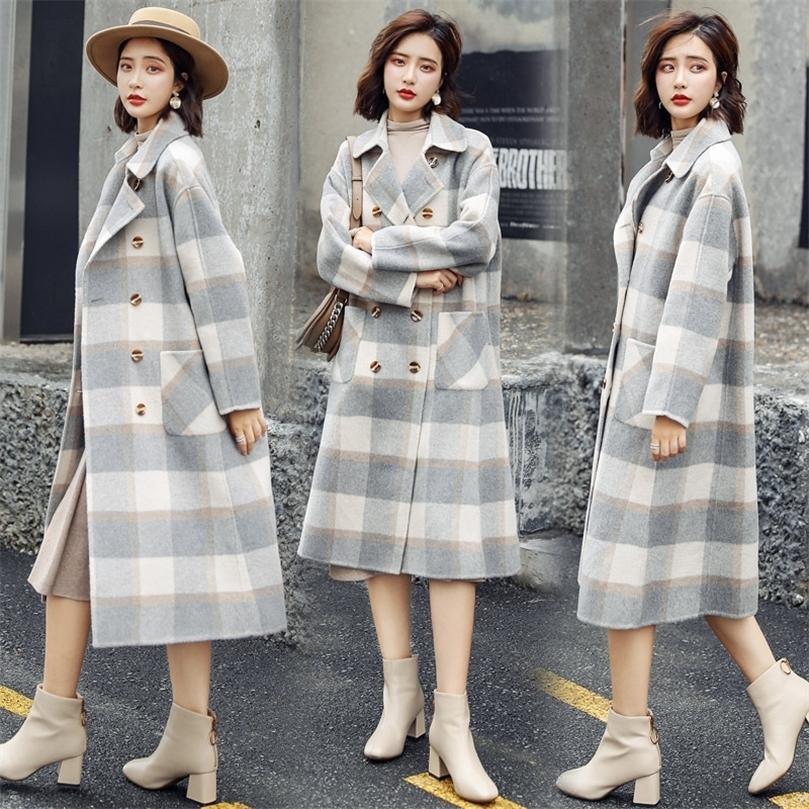 Abrigo largo de la tela escocesa dulce para las mujeres de cuello de lana de cintura ancha y chaqueta bolsillos de cuello de giro de la chaqueta ropa de mujer 201215