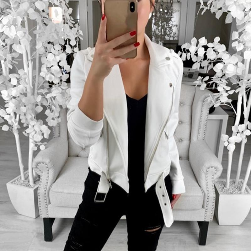 Streetwear Autumn Jacket Casual Turn-down Collar Long Sleeve Pockets Women's Windbreakers Solid Black White Basic Jacket Femme 201016