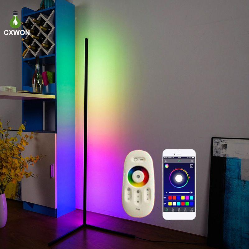 Lámpara de piso de la esquina Nordic RGB Moderna Luces de piso de la varilla LED simple para la sala de estar Atmósfera de la lámpara de pie Lámpara interior