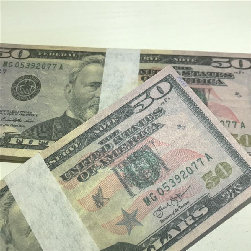 GMQFA-Qualität 50-3 US-amerikanische Papierdollar-Versand-Atmosphäre Geldstücke / -paket Bar-Währung Requisiten Papier Schnell Großhandel High 100 Prop-Ruppe