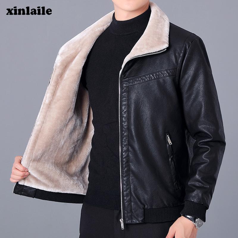 Nouvelle veste en cuir PU Hommes d'hiver et d'automne Veste pour hommes Mode Faux Fourrure Fourrure Vêtements de marque chaude