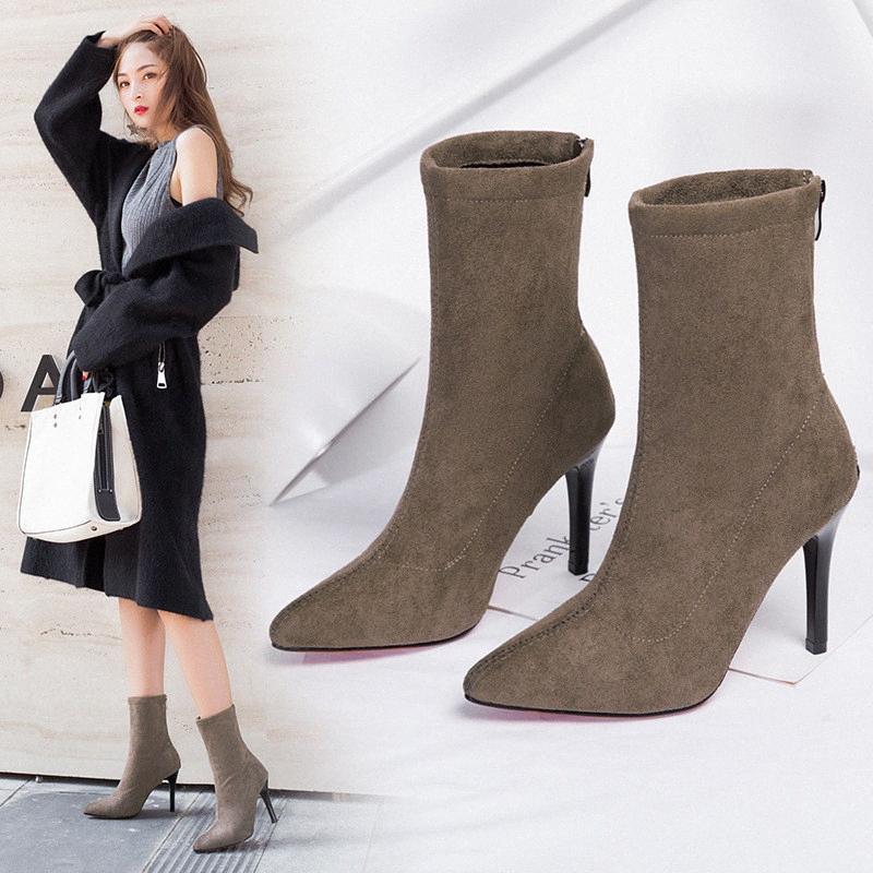 Primavera e autunno Stivali signore sottili tacchi a punta della caviglia comodi modelli esplosione stivali matura TN7o #