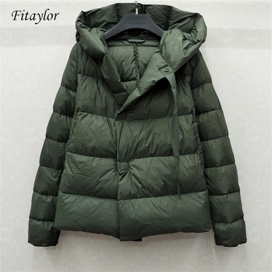 Fitaylor Novo Inverno 90% Ultra Luz Branca Duck Down Jacket Mulheres Curto Down Coat Parkas Com Capuz Parkas Quente Feminino Snow Outwear 200923