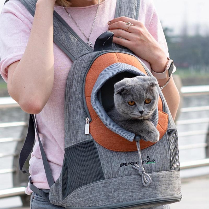 كلب القط حقيبة صديقة للبيئة الصديقة الحيوانات الأليفة الناقل القط السفر قفص السلامة تنفس الجبهة حقيبة الظهر الكلب القط شبكة حقيبة الظهر LJ201201