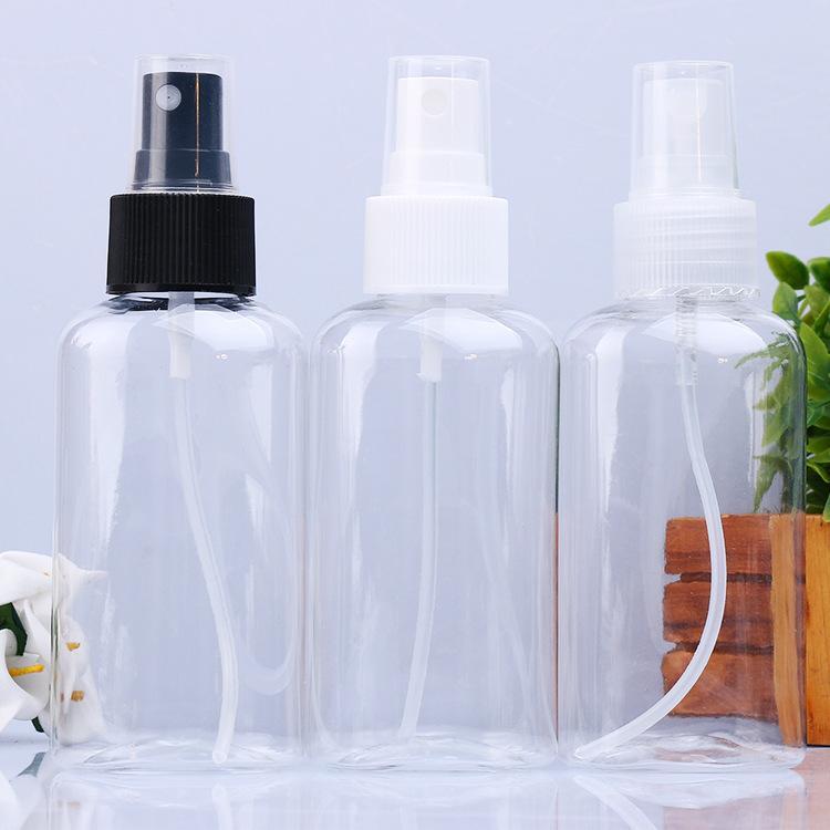 100 ml düz şişe püskürtme memesi pet şeffaf plastik şişe kozmetik sprey şişesi alkol dezenfektan alt şişe siyah kap