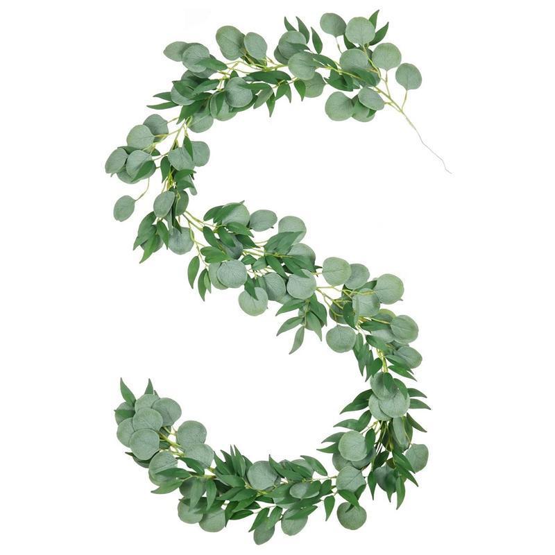 6.56Ft Искусственный Серебряный доллар Эвкалипт и листья ивы Vines, платяной листьев Гарланд для сада украшения стены