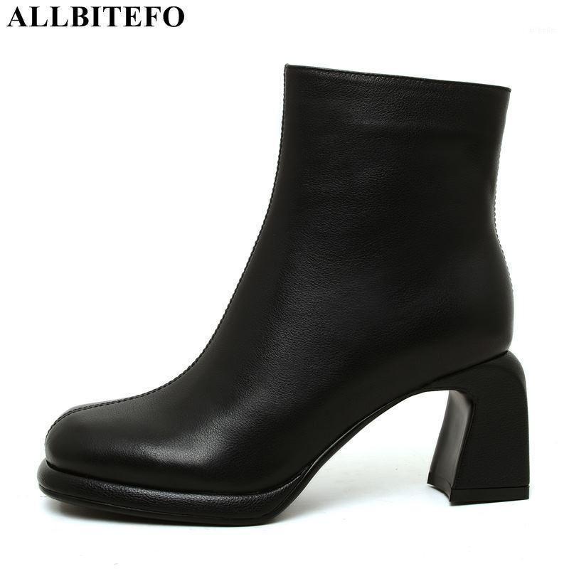 Stivali AllbitEfo Brand High Tacchi alti in vera pelle Donna spessa caviglia per scarpe da donna ufficio1