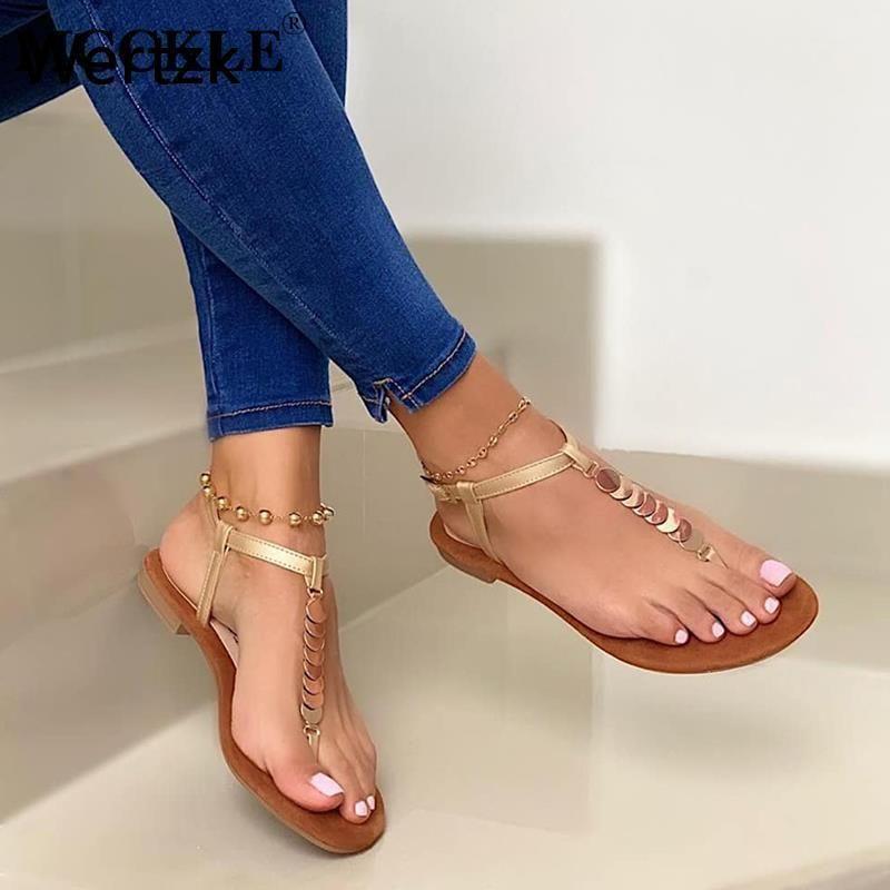Wertzk 2021 New Fashion Donne Sandali piatti Sandali clip punta flip flop sandalo donna fibbia spiaggia signore sandalias scarpe estive