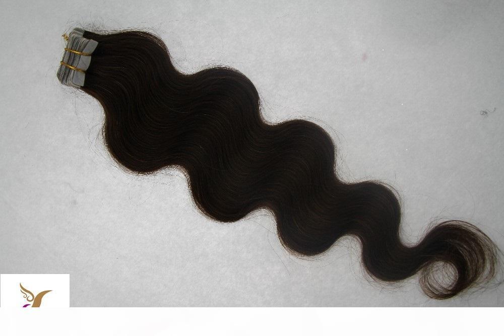 Cinta de color marrón más oscuro en remy Extensiones de cabello humano onda corporal Remy Extensiones de cabello Piel de la PU de la PU