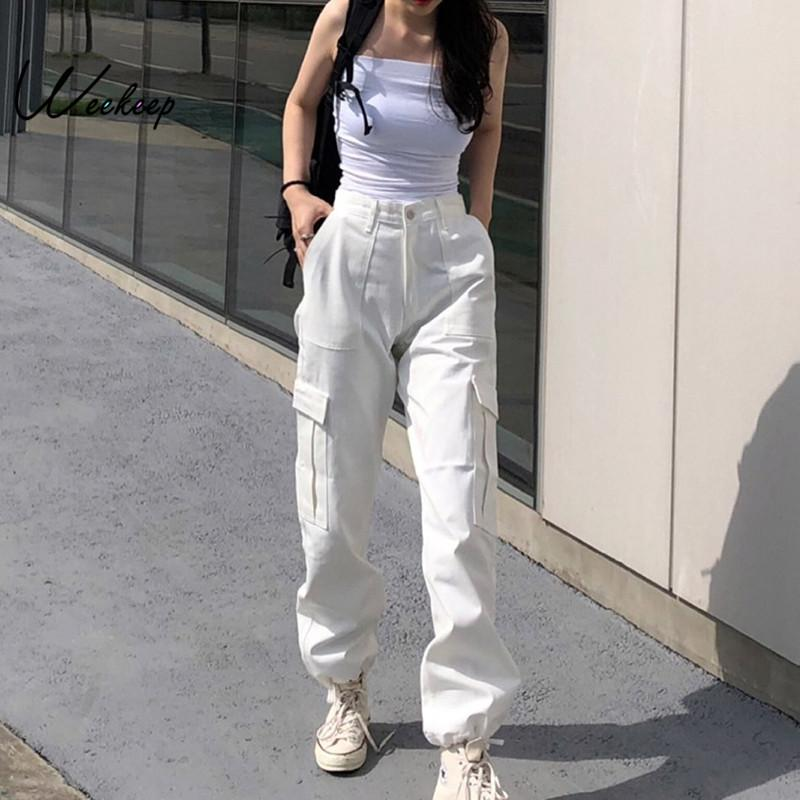 Weekeep Button Pockets Patchwork Cargo Pants Women Streetwear High Waist Trousers Women Fashion Pencil Pants Joggers Women 200929