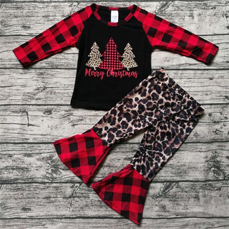 Les filles de Noël Tenues Leopard Patchwork Plaid manches longues enfant en bas âge Hauts Pantalons + évasés Deux pièces Ensembles enfants Vêtements de Noël Set 2020 INS