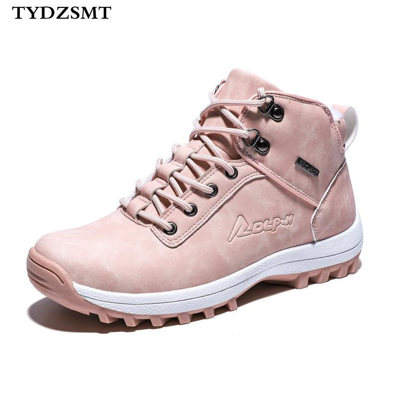 TYDZSMT Femmes cheville neige Boot hiver chaud en peluche New Wedges caoutchouc Plate-forme Faux Suede Lace Up Sexy Pink Ladies Chaussures Botas Mujer