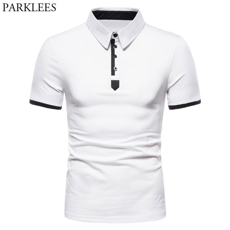 Fashion Contrast Color Shirt Men 2020 Summer Short Sleeve Cotton White Homme Slim Fit Turn Down Collar Camisa