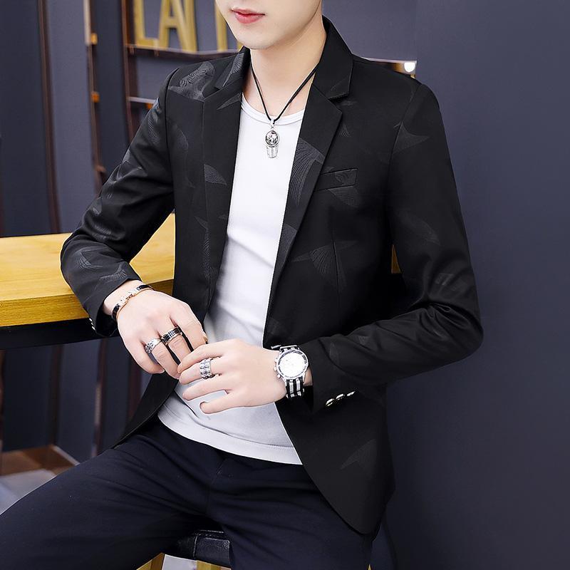 2021 primavera e outono homens personalizados terno impresso tendência insular coreano magro terno pequeno maré marca casual jaqueta bonito homens