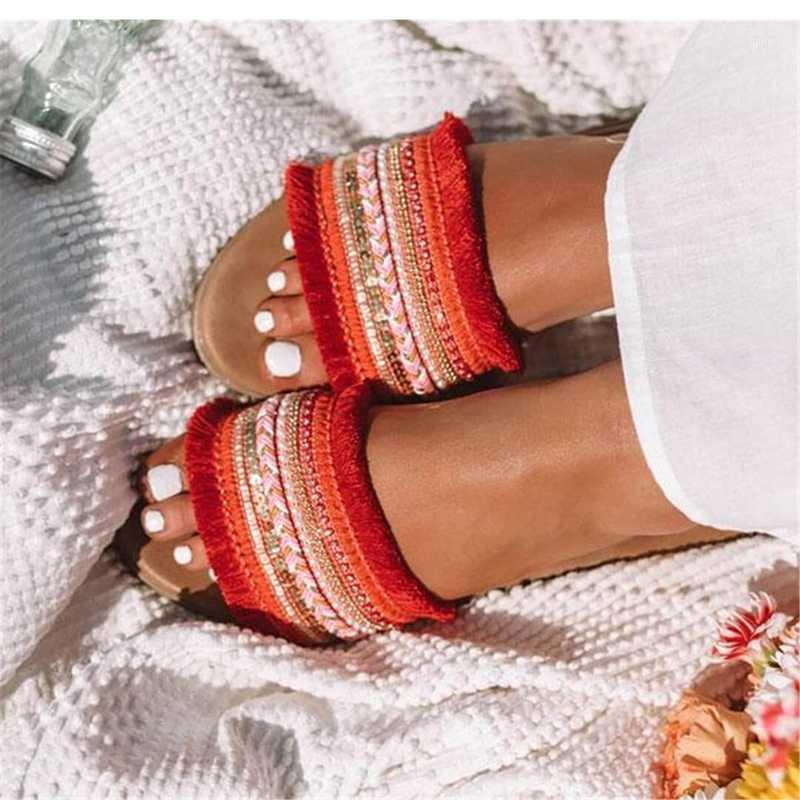 Siddons Женские тапочки плоские Женские туфли Летний пляж скольжения на слайдах Флопы сандалии Дамы модные тапочки Главная Женская обувь1