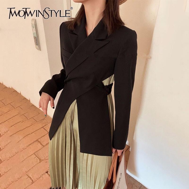 Cruz Sexy Blazer para las mujeres con muescas de manga larga sin espalda hueco hacia fuera abrigos femenino moda nuevo estilo caída y201026