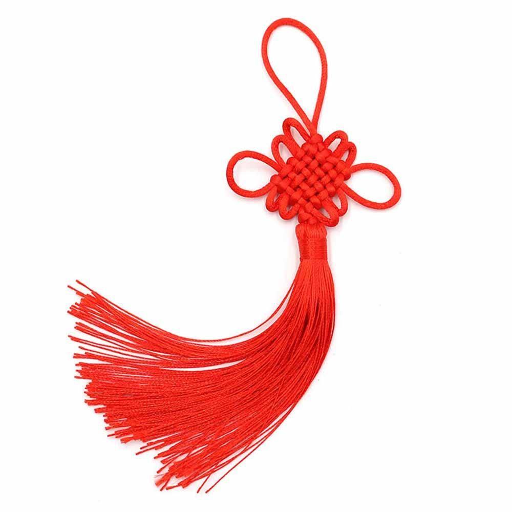 2 unids lote 12 cm multicolor chino nudo tassel de seda pincel de flecos borlas de satén borlas colgantes para artesanías DIY Decoración del hogar H JLLDCR