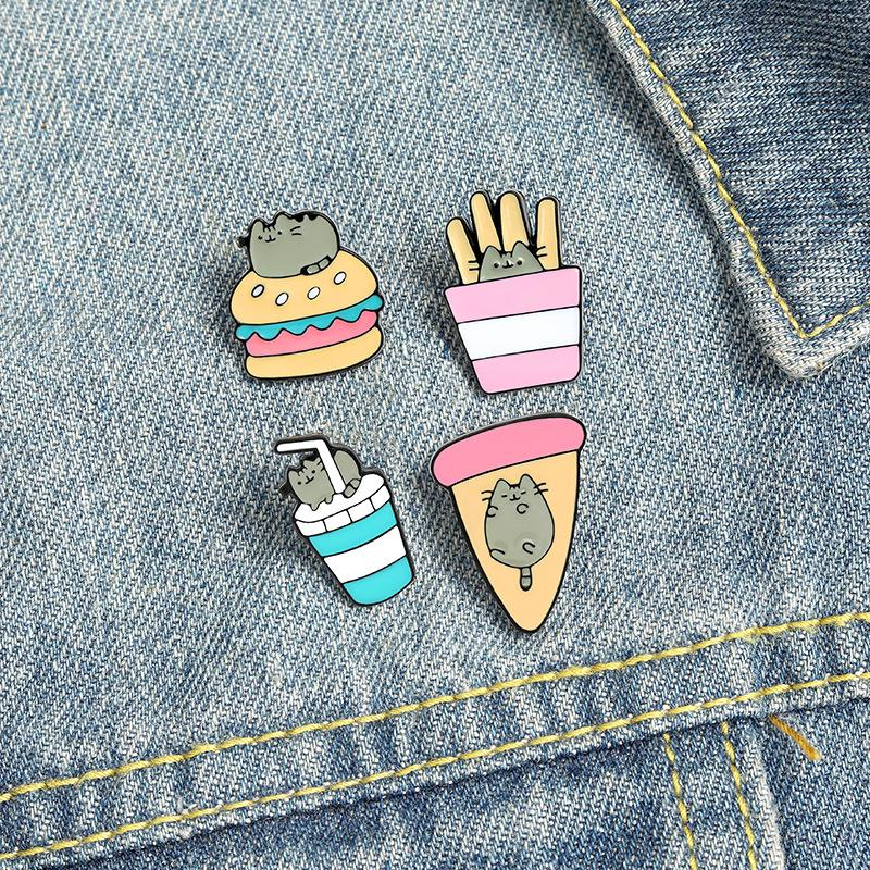 Чипы гамбургерные эмаль броши PIN для женщин мода платье пальто рубашка демин металлический брошь булавки значки Продвижение подарок 2021 новый дизайн