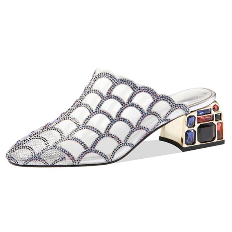 Zapatillas azulejos de cuero genuino de cuero cuadrado de punta de punta alta tacones para mujer Sandalias 2021 Moda de verano Punk Zapatos casuales Mujer