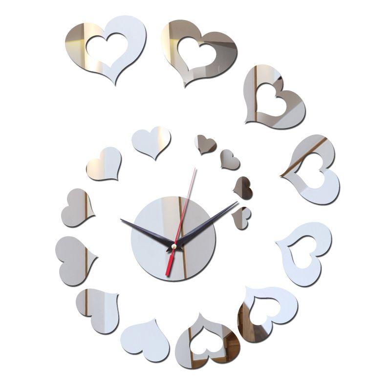 hot novos apressado design moderno DIY relógio de espelho relógio de parede adesivos decoração home relógios sala decoração