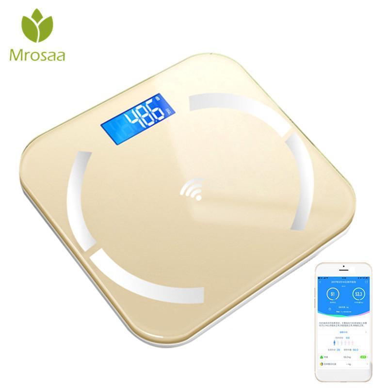 Bluetooth-Весы напольные Body Fat Scale интеллектуальный электронный дисплей с подсветкой LED цифровой Вес тела Весы ванной Весы BMI
