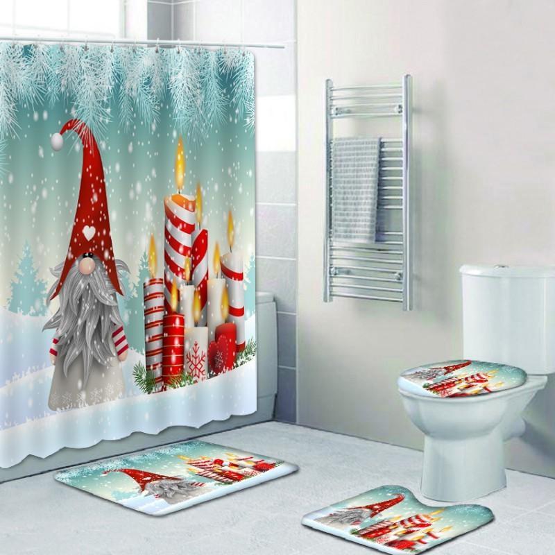 Feliz chuveiro 3d digital impressão gnomo duende cortina de chuveiro casa de banho base tapete tapete toalete conjunto de combinação BAT F1222