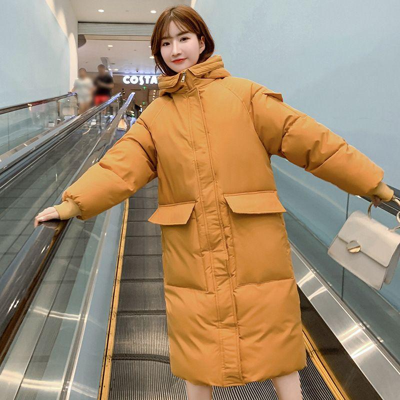 Hf novo inverno longo pão casual solto algodão feminino acolchoado jaqueta coreana
