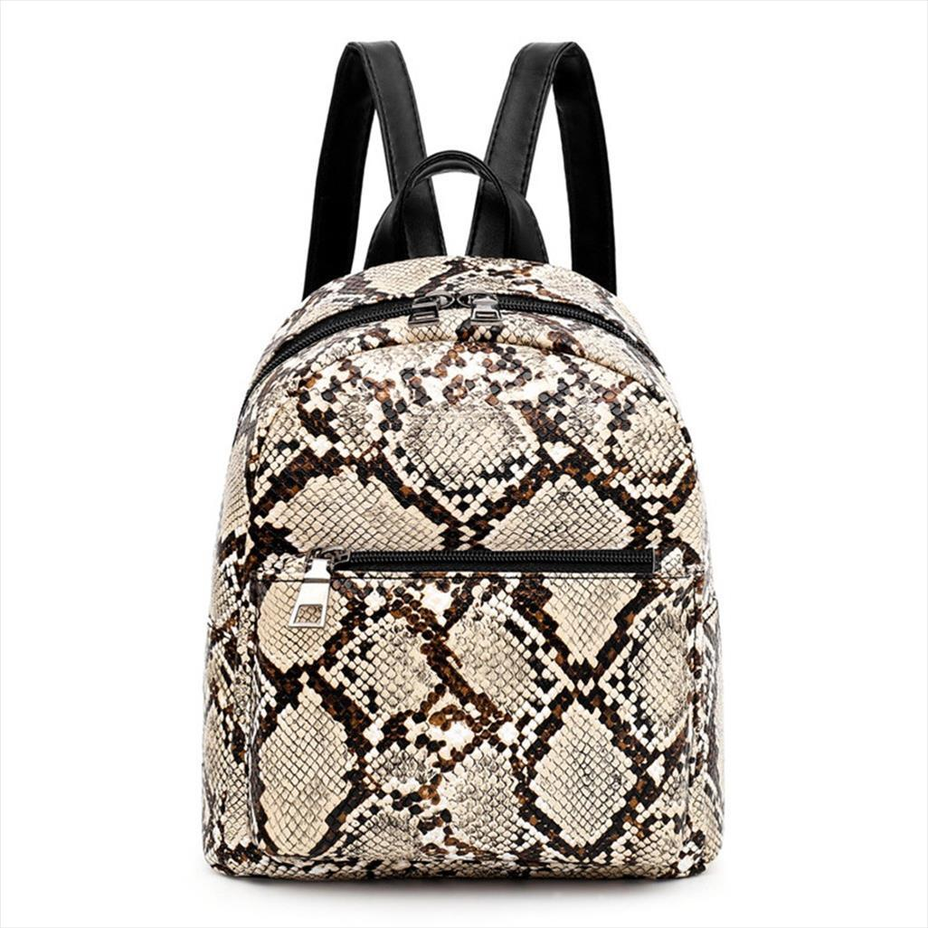 Backpack Women Pu Leather Female Backpacks Teenager Fashion Leopard Students Shoulder Backpack Bag Mochilas Mujer 2019