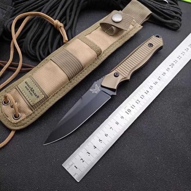 benchmade 140BK fixe Lame de couteau de survie tactique droite Couteau 154CM lame noire pleine Tang en alliage d'aluminium avec poignée gaine en nylon