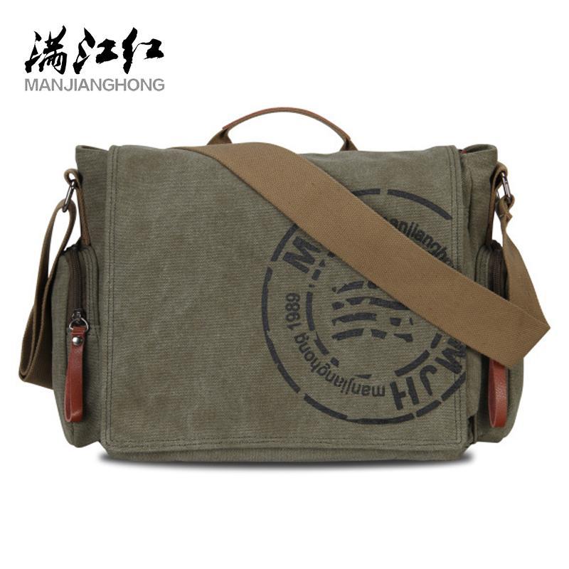 Manjianghong Leisure Canvas Men's Briefcase Bags Quality Guaranteed Man's Shoulder Fashion Business Functional Messenger Bag Q1230