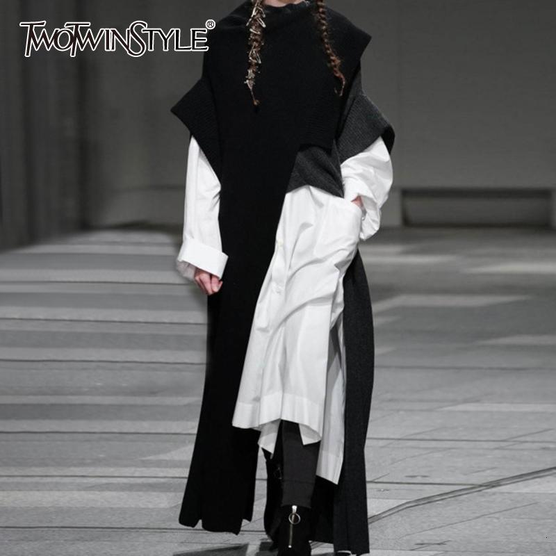 Twintwinstyle Autunno inverno New Fashion Abbigliamento Abbigliamento Trend Abbigliamento a maniche lunghe Color High Collar Allentato Maglione irregolare 201130