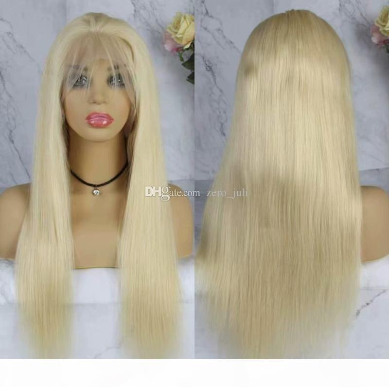 Бразильский омбр без охватывает полное кружево человеческие волосы парики для белых женщин бразильские прямые 613 # блондинки полные кружевные парики с волосами младенца вокруг