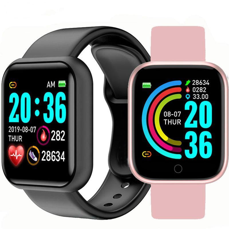 D2O Bluetooth inteligente hombres de los relojes impermeable del deporte de presión rastreador de ejercicios inteligente pulsera Sangre monitor de ritmo cardíaco Y6 SmartWatch