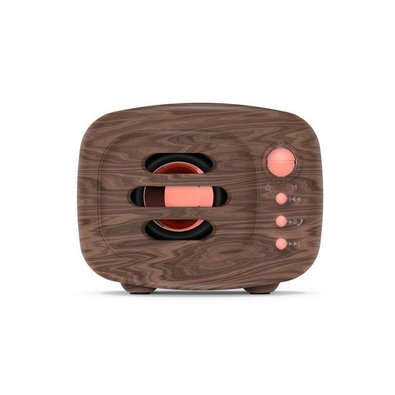 5W Bluetooth 5.0 estéreo portable al aire libre de madera del altavoz Bluetooth grano retro de música inalámbrico Soporte de sonido envolvente FM TFCard Bajo Box