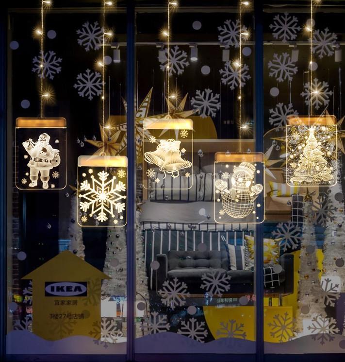 Le dernier ensemble de lumières de décoration de Noël LED 3D lumières suspendues SANTA modélisation chambre décoration LDE bonhomme de neige lumières, livraison gratuite