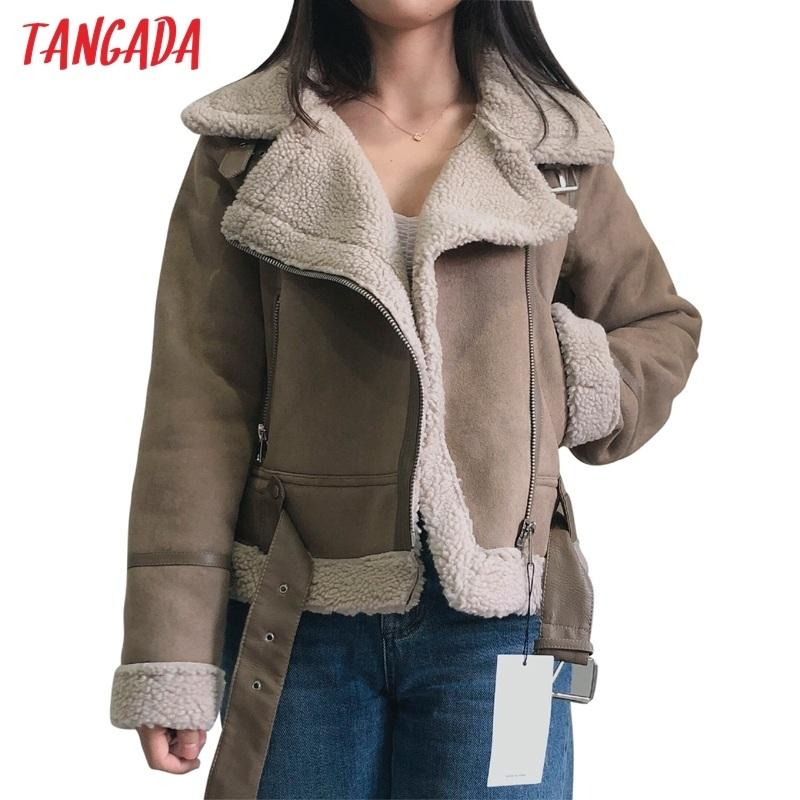 Tangada New Winter Women brown fur faux leather jacket coat with belt Ladies Thick Warm Oversized Coat 5B02 201017