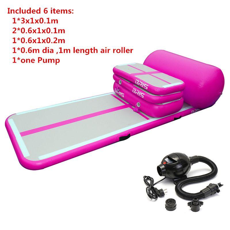 Un ensemble (4 à coussin d'air + 1 rouleau + 1 pompe) d'air gonflable eau Trampoline Piste Airtrack Gymnastique Air Mat à vendre