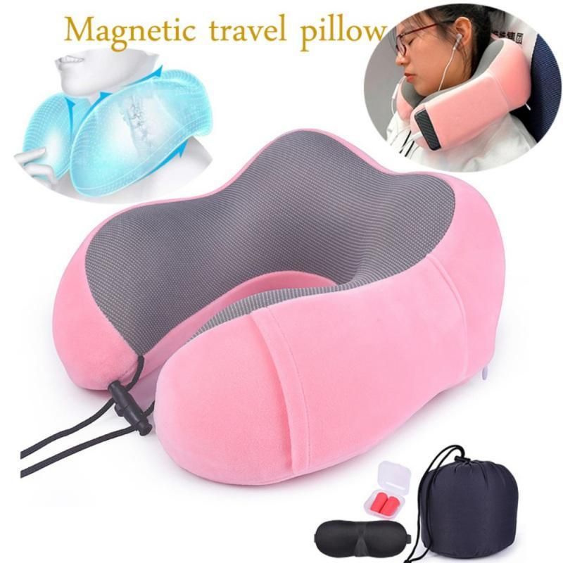 Neck Pillow Cushion With Eye Portable Memory Foam Travel Earplugs Storage Bag Support Your Neck Head For Airplanes Cars