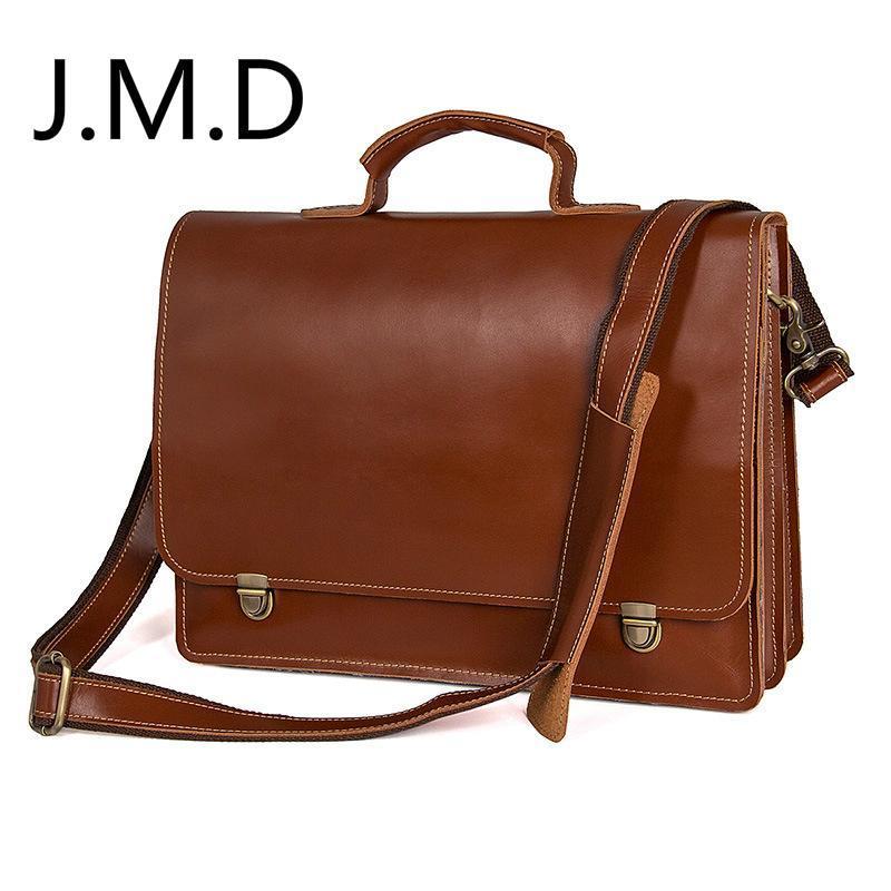 Briefcases J.M.D Top Layer HandBag in pelle Borsa da uomo Genuine Spalla Borsa a tracolla Valigetta 7379