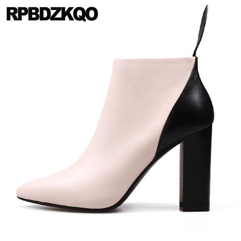 Patchwork Chunky Bottillons Véritable Chaussures en cuir Short Femmes Side Zip Bottes 2020 Automne Automne Toe High Heel1