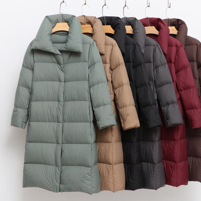 2020 Nouveau manteau de l'hiver femmes vers le bas chaud épais rembourré long Doudoune Casual Parkas Femme Ultra Léger Femme Pardessus Vêtements