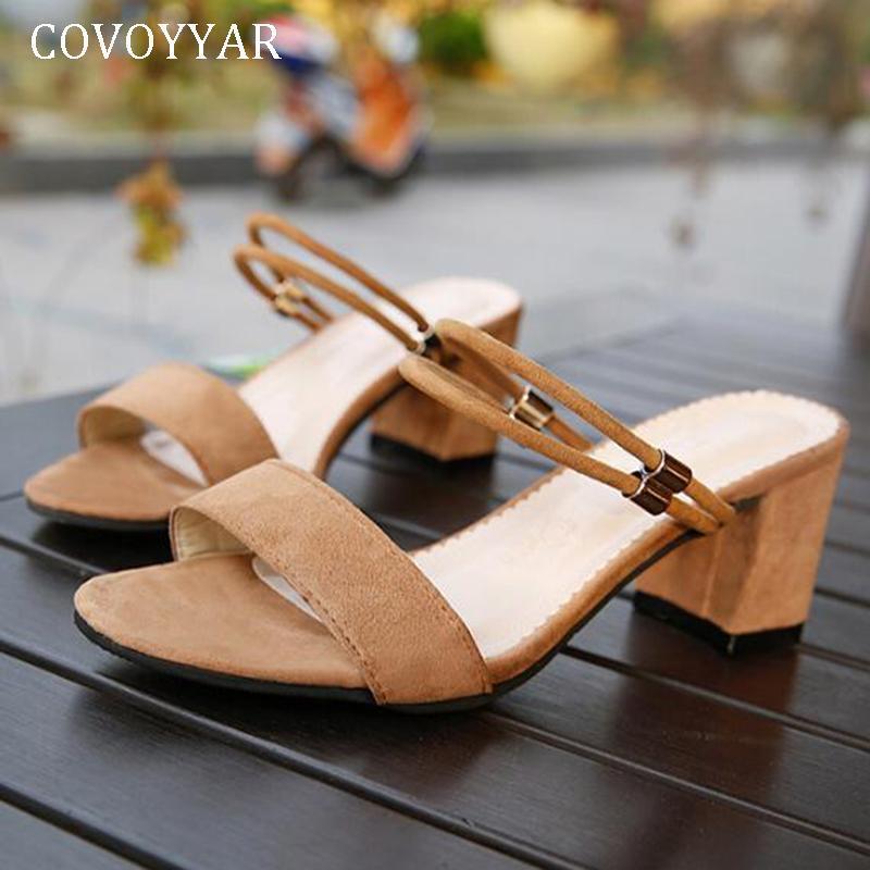 Elbise Ayakkabıları Covoyyar 2021 Kalın Topuklu Kadın Sandalet Yaz Moda Toe Açık Katırlar Bayanlar Pompalar 2-Giyim Kadın Büyük Boy 40 WSS307