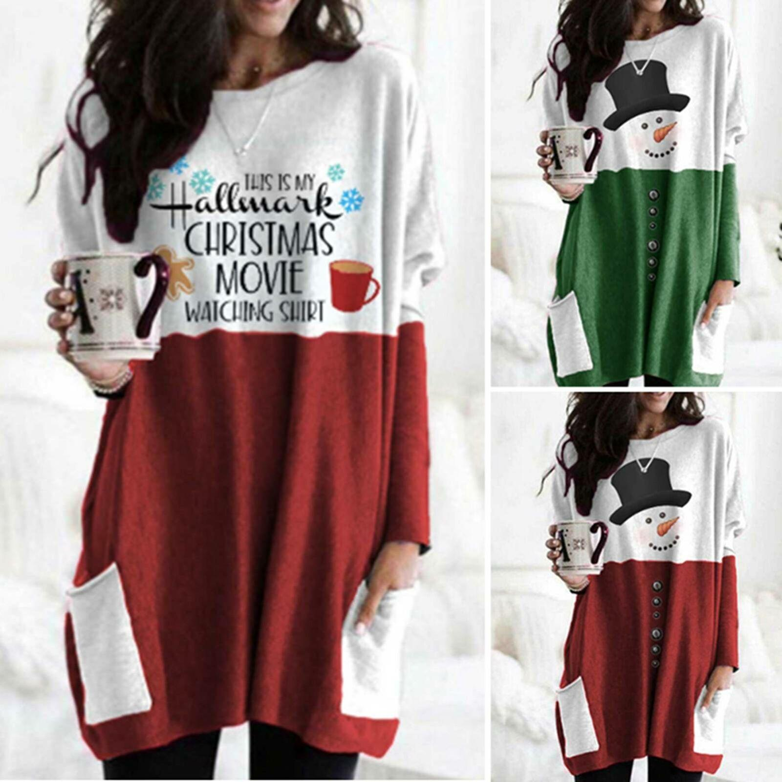 4Colour S-5XL 여성 의류 유행 크리스마스 디지털 인쇄 긴 여성 T 셔츠 새로운 여성의상의 티셔츠 T 셔츠 26581595719830