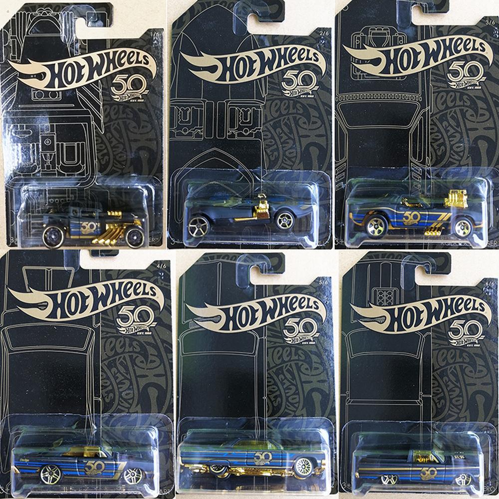 HOT WHEELS 50 الذكرى الذهب الأسود مجموعة 1:64 دييكاست نموذج أرقام سبيكة سيارة لعب الاطفال هدية