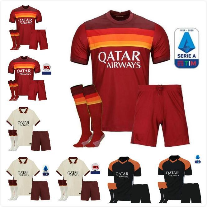 Kit pour enfants adulte 20 21 Roma Home Soccer Jersey 2020 2021 Comme Pastore Dzeko Zaniolo El Sharawy Rome Chemises de football