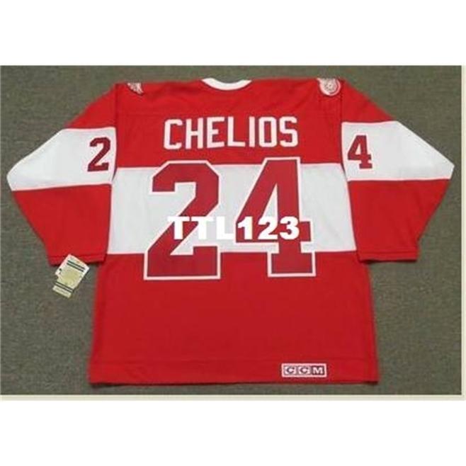 888 # 24 Chris Chelios Detroit Wings Red Wings CCM Alumni Hockey Jersey o personalizzato Qualsiasi nome o numero Nome Retro Jersey