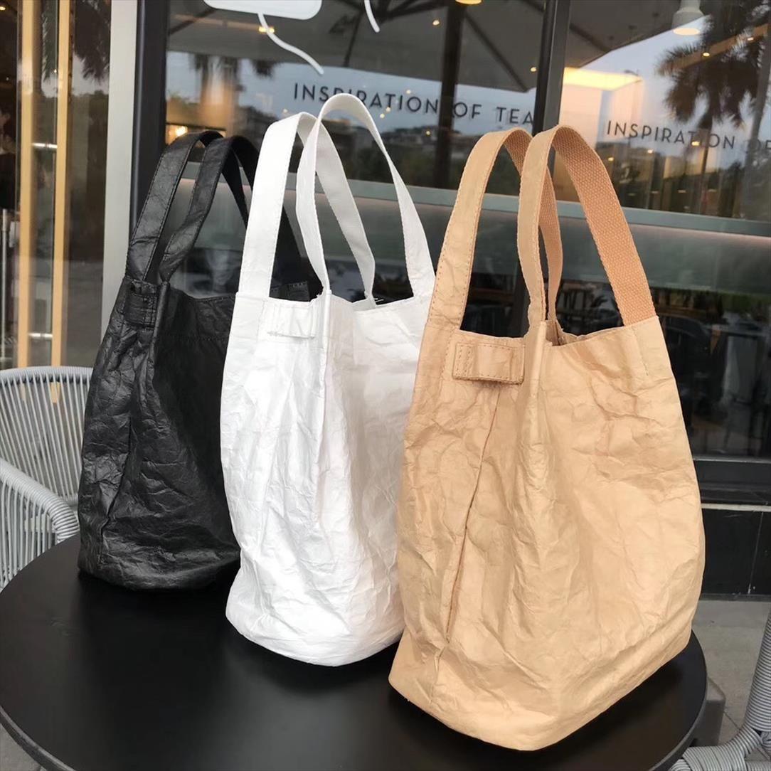 Moda Kraft papel grande balde sacos para as mulheres bolsa vintage dobro das senhoras da camada de sacos de ombro Feminino Casual Tote comerciais 2019