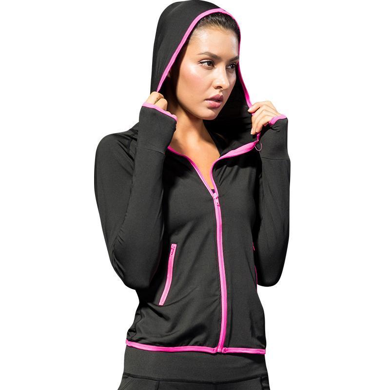 2021 Donne Giacca da corsa per le donne Yoga Zipper Manica lunga Giacca sportiva Sport Quick Dry Fitness Jogging Black Ladies Abbigliamento sportivo