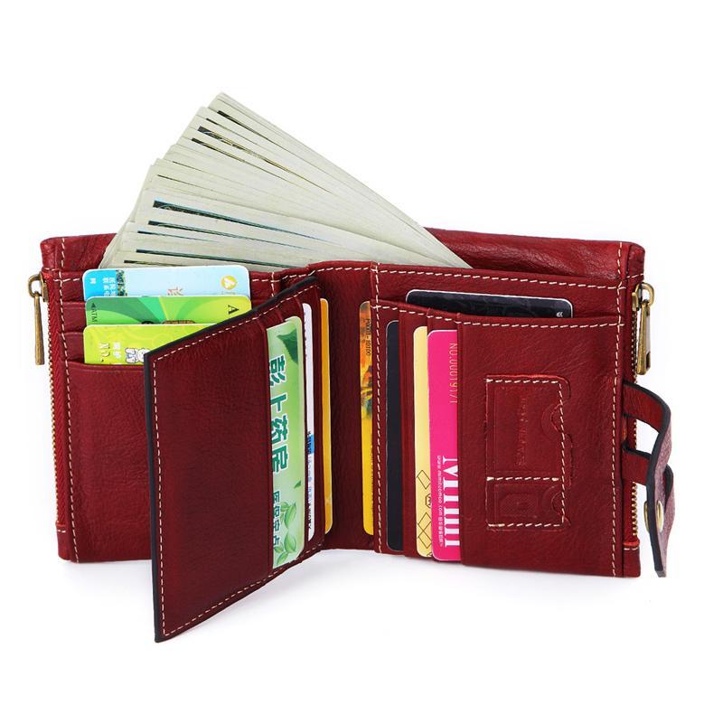 2019 Echtes Leder Frauen Brieftasche Slim Münze Geldbörse Weibliche Kleine Doppel Reißverschluss RFID Walet Karte ID Hold für Mädchen Geld Tasche Designer